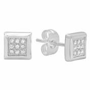 Steel Nation Jewellery Men's Stainless Steel Silver-Tone Diamond Accent - Mens Square Stud Earrings