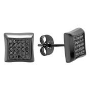 Steel Nation Jewellery Men's Gunmetal Stainless Steel .25cttw Black Diamond - Mens Square Stud Earrings