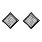 Steel Nation Jewellery Men's Black Stainless Steel White Cubic Zirconia - Mens Square Stud Earrings