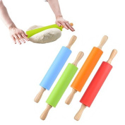 Milopon Rolling Pin Wooden Handle Rolling Pin for Baking Fondant Pastry Cookies Pizza