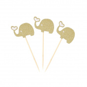 LUOEM Elephant Cupcake Topper Picks 3pcs Animal Cupcake Sign for Birthday Party Cake Decoration