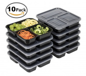 3 Compartment Meal Prep Food Storage Containers Microwave and Dishwasher Safe Lunch Boxes with Lids Portion Control 10 Pack