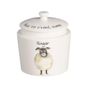 Price & Kensington Back to Front White Stoneware Sheep Sugar Canister Jar