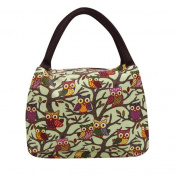 bismarckbeer Cute Owl Printed Insulated Lunch Tote Picnic Bag Storage Lunch Bag