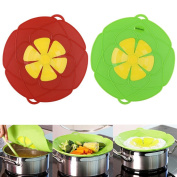 2 X Spill Stopper Lid Cover And Spill Stopper, Boil Over Safeguard,Silicone Spill Stopper Pot Pan Lid Multi-Function Kitchen Tool