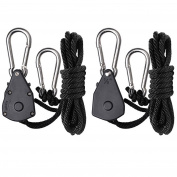 Hydro Crunch™ 0.3cm Heavy Duty Ratchet Hanger Adjustable Grow Light Rope Clip Carabiner Light Hanger Pair