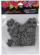 Stampendous Laurel Burch Cling Stamp 17cm x 11cm - Blossoming Feline
