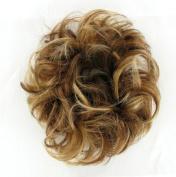 Hair Extension Scrunchie 43cm Chestnut Brown with Light Blond Highlights 6bt27b