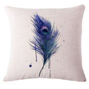 ZebraSmile Feather Throw Pillow with Filling Inner Pillow Cotton Linen Blend Decorative Cushion For Couch/Bench/Sofa/Car/Chair