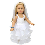 Wedding Doll White Communion Dress For 46cm Our Generation Girl Doll
