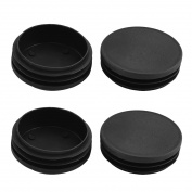 Furniture Table Chair Plastic Round Tube Insert Cover Black 75mm Outer Dia 4pcs