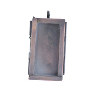 HHH Designs Women's 2.5cm X 4.4cm Rectangle Glass Pane Pendant Locket - Antiqued Copper