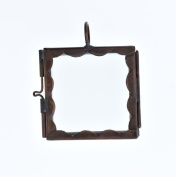 HHH Designs Women's 3.8cm Square Scalloped Glass Pane Pendant - Antiqued Copper