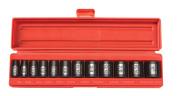 TEKTON 1cm Drive Shallow Impact Socket Set, Inch, Cr-V, 6-Point, 0.8cm - 2.5cm , 12-Sockets   47910