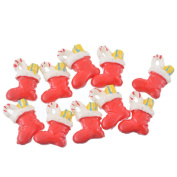 10 Pcs Red Christmas Boots Patches Appliques DIY Christmas Decorative Patches