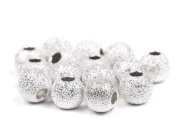 Sterling Silver Beads Round Frosted, 8mm, 2 Hole