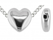 Sterling Silver 12mm Heart Bead, Electro Formed, Fully Drilled, Plain