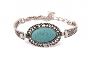 LX Vintage Turquoise Oval Bracelet Bracelet Silver lace , blue