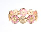 LX Fashion jewellery boutique 18K gold plated bracelet beads disc hollow Bangle Bracelet , pink