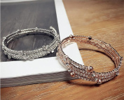 LX Personality with three layers of Diamond Bracelet Stretch Bracelet , gold bracelet with three layers