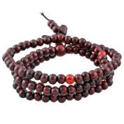 Buddha Meditation 108 Wood Beads Buddhist Prayer Mala Beads Chinese Knot Buddhist Bracelet Necklace Elastic,Maroon
