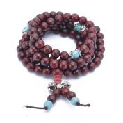 Buddha Meditation Brownish Red 108 Jujube Wood Beads Buddhist Prayer Mala King Kong Knot Buddhist Bracelet Necklace