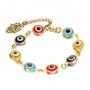Caiyan 8MM Colour glass eye Hand Stainless steel Bracelets for Women