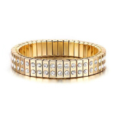 Caiyan Elastic double Drain drill stainless Steel Gold Bracelets for Women