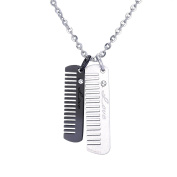 """Engraved """"love"""" Double Comb Pendant Necklace Unisex Stainless Steel Rhinestone Silver Tone & Black,60cm Chain"""