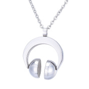 Headset Ear Clip Pendant Necklace Unisex Stainless Steel Silver Tone,Free 60cm Chain