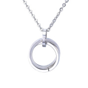 Double Ring Interlocking Pendant Necklace Unisex Stainless Steel Silver Tone,Free 60cm Chain