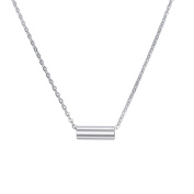 Cylindrical Large Hole Bead Women Pendant Necklace Stainless Steel Silver Tone Adjustable Chain