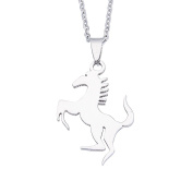 Smoothly Galloping Horse Pendant Necklace Unisex Stainless Steel Silver Tone,Free 60cm Chain