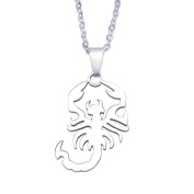 Smoothly Scorpion Pendant Necklace Unisex Stainless Steel Silver Tone,Free 60cm Chain