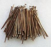 100 Head Pins 30mm x 0.7mm Copper Tone 21 Gauge Jewellery Findings J03598