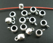 50 Bail Beads Pendant Bails 9mm x 4mm Silver Tone Findings J03273