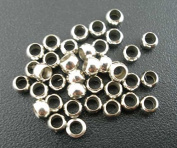 100 Crimp Beads 3mm Antique Silver Tone End Beads Jewellery Findings J02850