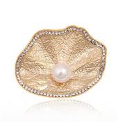 Cdet Brooch Rhinestones Lotus leaf Style Alloy Brooch Elegant Jewellery Shawl Clip Lover Gift Gold Colour