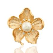 Cdet Brooch Diamond Rhinestones Flower Style Alloy Brooch Elegant Jewellery Shawl Clip Lover Gift Gold Colour