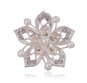 Cdet Brooch Flower Fashion Elegant Brooch Pin For Wedding Alloy Shawl Clip Lover Christmas Gift Silver Colour