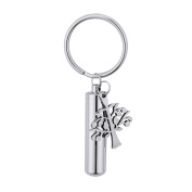 Cylinder Tree of Life Cremation Urn Keychain Stainless Steel Memorial Ash Keepsake Cremation Jewellery
