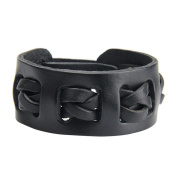 Canyan Leather Hand Woven Bracelet , black