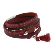 Canyan Two-circle multi-layered female-fringed leather bracelet , Red