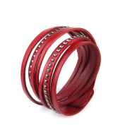 Canyan Vintage multi-layer leather rivet bracelet for men and women , Red
