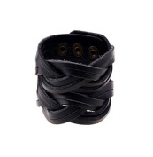 Canyan Punk vintage man wide skin hand woven leather Bracelet , black