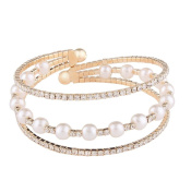 Canyan Ms. imitation pearl claw chain diamond bracelet , A