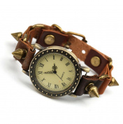 Canyan Vintage spike punk men's leather bracelet,watch