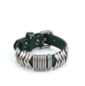Canyan Pure Handmade leather Bracelet , green