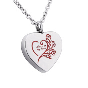 "Engraved ""Always in My Heart"" Heart Memorial Urn Pendant Necklace Cremation Jewellery Stainless Steel,Red"