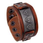Wangjianfeng Vintage wide leather men's bracelet